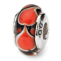 Sterling Silver Reflections Red Heart Hand-blown Glass Bead