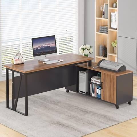 L-Shaped Computer Desk, 55 Inch Executive Office Corner Desk with File Cabinet Storage