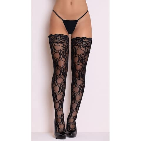 0f8d16bb6d01e Stay-up Floral Lace Thigh Highs, Lace Thigh Highs - Black - One Size