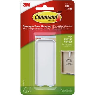 Command Large Canvas Hanger 1/Pkg-1 White Hanger & 2 Strips