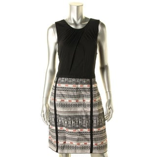 Laundry by Shelli Segal Womens Jacquard Ruched Wear to Work Dress - 12