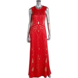 BCBG Max Azria Womens Veira Illusion Neck Sleeveless Evening Dress - 6