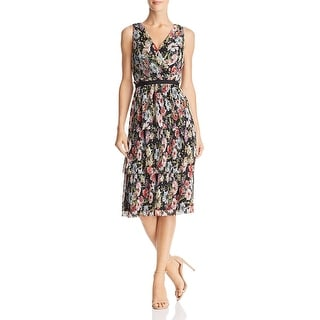Link to Adrianna Papell Womens Petites Cocktail Dress Floral Tiered Similar Items in Dresses