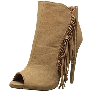 Qupid Womens Glee 181 Stilettos Fringe Peep-Toe