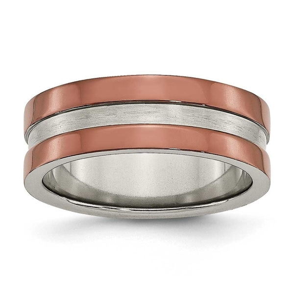 Titanium Grooved 8mm Brown Plated Band