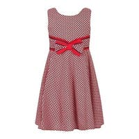 Richie House Girls Red Patterned Bow Sweet Party Cotton Dress