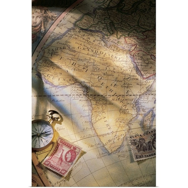 """""""Map of Africa with compass and stamps"""" Poster Print"""