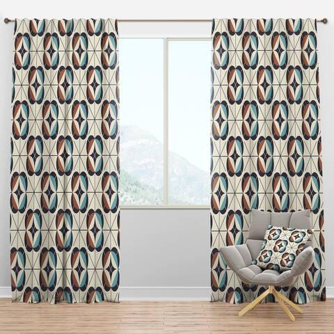 Designart 'Geometric Retro Design V' Mid-Century Modern Blackout Curtain Panel