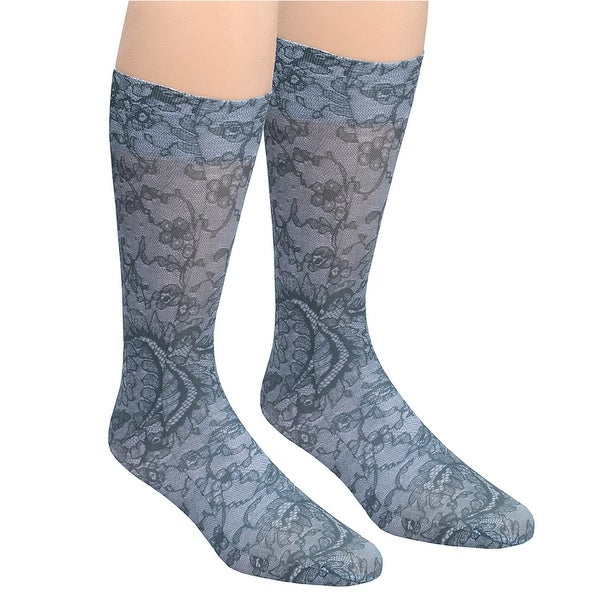 Celeste Stein Moderate Compression Knee High Stockings Wide Calf - Black Lace - plus