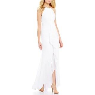 Calvin Klein Chiffon Halter Neck Frame Gown, 12