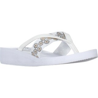 callisto Lush Strappy Flip Flops, White