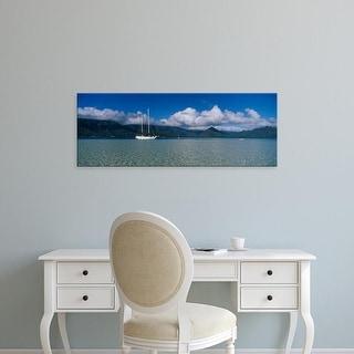 Easy Art Prints Panoramic Images's 'Sailboat in a bay, Kaneohe Bay, Oahu, Hawaii, USA' Premium Canvas Art
