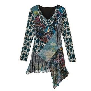 Women's Tunic Top - Treasures Of Teal Knit Long Sleeve Shirt