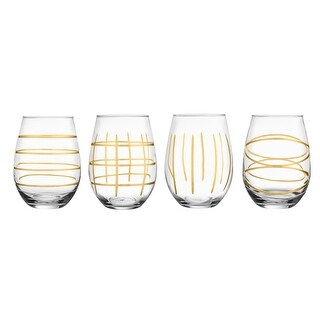 Fifth Avenue Crystal Weston Stemless Goblets, Gold