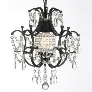 Link to Wrought Iron Crystal Chandelier H14 x W11 Swag Plug In Similar Items in Pendant Lights