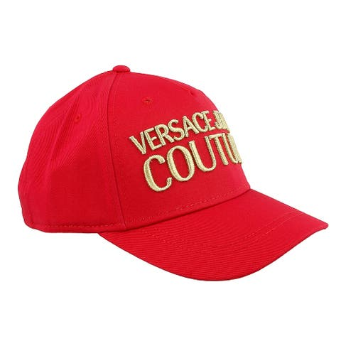 Versace Jeans Couture Red 100% Cotton Mid Visor Cap - One Size