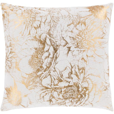 Karolina Metallic Floral Gold Throw Pillow Cover 22-inch