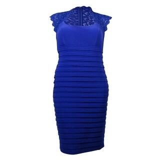 Xscape Women's Lace Shutter Pleated Dress - 14W