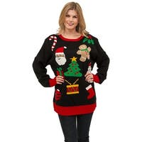 Everything Christmas Sweater, Ugly Christmas Sweater - Black