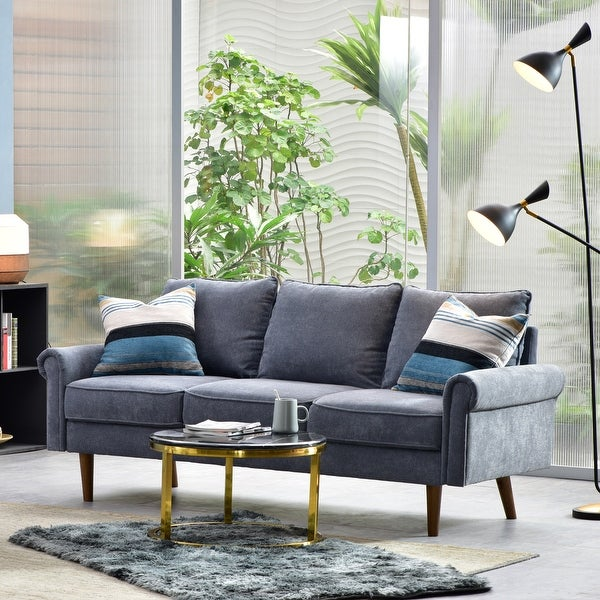 Ovios High Back Couch,Mid-Centry Spring Upholstered Sofa Futon with Hard Wood Leg for Living Room or Bedroom.. Opens flyout.