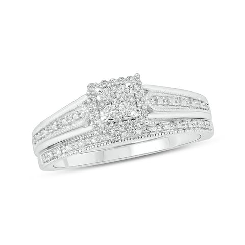Cali Trove Sterling Silver 1/5ct Round White Natural Diamond Wedding Bridal Ring Set for Women