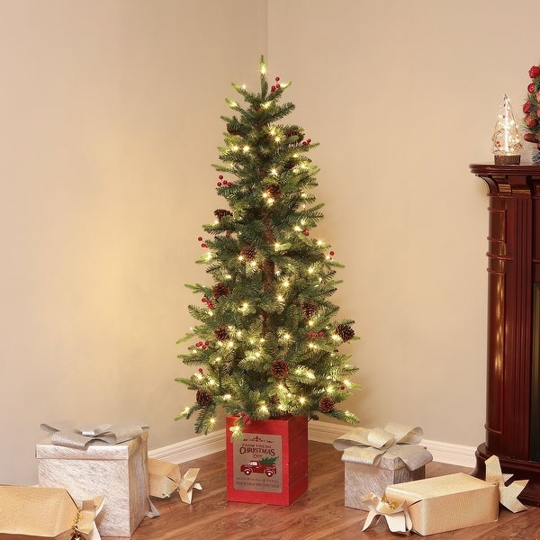 Pre-Lit Clear LED 5ft Porch Artificial Tree with Red Wood Base. Opens flyout.