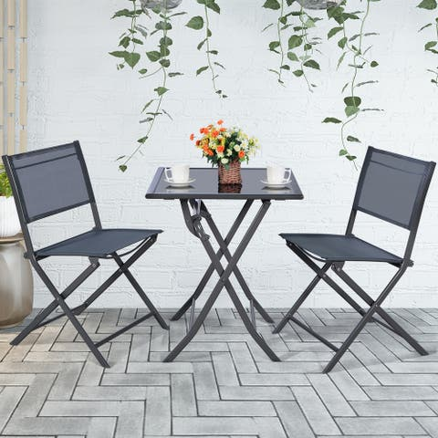 Costway 3PCS Bistro Set Garden Backyard Table Chairs Outdoor Patio