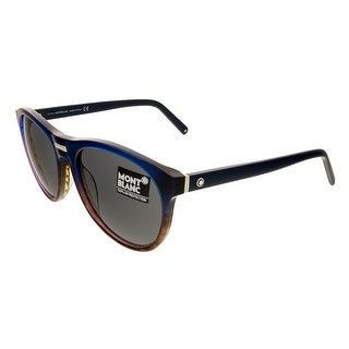 Montblanc MB506/S 92A Navy Gradient Round Sunglasses