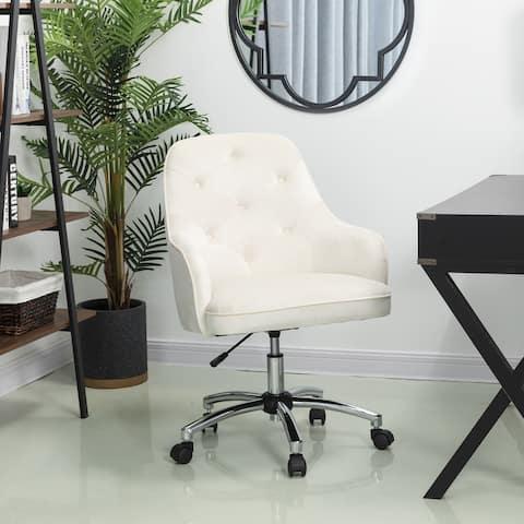 """Glitzhome 40""""H Velvet Gaslift Adjustable Swivel Office or Desk Chair"""