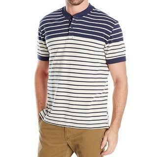 Nautica NEW Blue Mens Size Medium M Henley Slim Fit Stripe T-Shirt