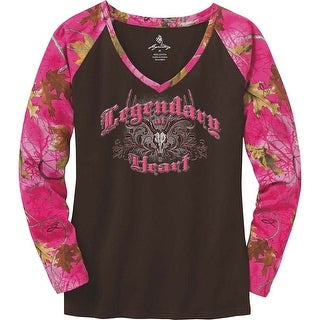 Legendary Whitetails Ladies Legendary At Heart Pink Camo V-Neck Shirt