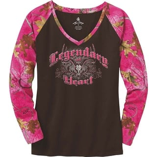Legendary Whitetails Ladies Legendary At Heart Pink Camo V-Neck Shirt|https://ak1.ostkcdn.com/images/products/is/images/direct/76b9daa80923ba74c75c948f6367cba4c20cd02b/Legendary-Whitetails-Ladies-Legendary-At-Heart-Pink-Camo-V-Neck-Shirt.jpg?impolicy=medium