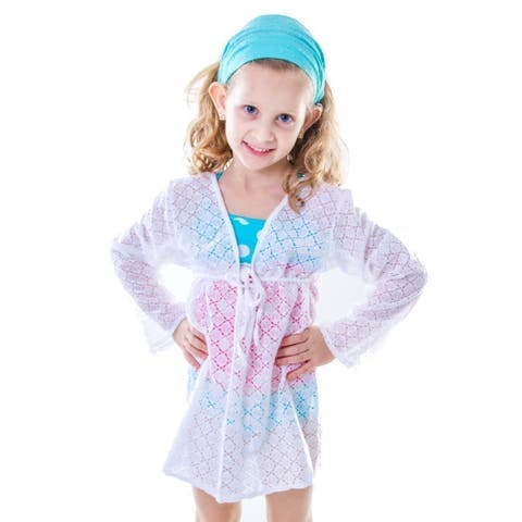 Little Girls White Tie Closure Long Sleeve Lace Cover-Up - 4/6