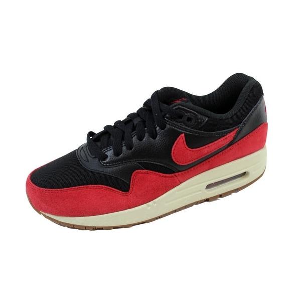 Nike Women's Air Max 1 Essential Black/Gym Red-Sail-Gum Medium Brown 599820-018 Size 6