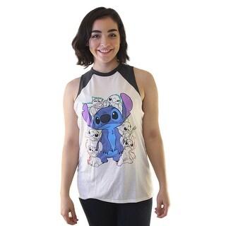Disney Lilo and Stitch Happy Stitch In White And Colored Women's White Tank T