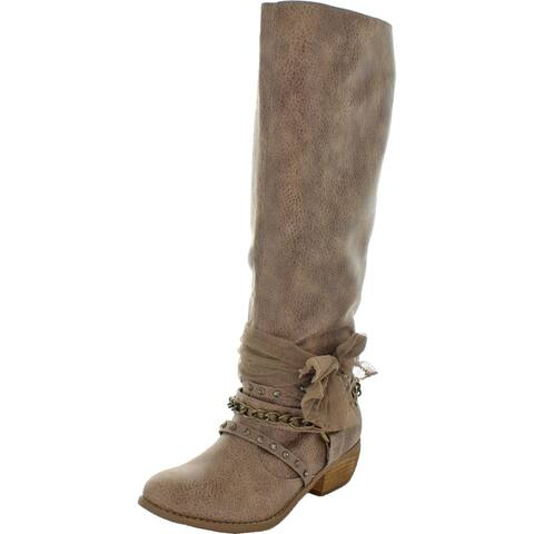 Not Rated Women's Tutu Faux Leather Embellished Block Heel Knee-High Boot - Taupe