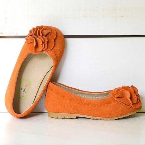 Foxpaws Orange Boutique Suede Rosette Kate Shoes Little Girls 11-12