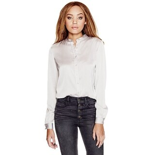 GUESS Catee Collarless Button Up Shirt Blouse - l