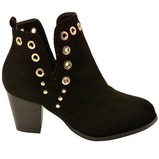 Lov mark Adult Black Split Side Eyelet Detail Heeled Fashion Boots