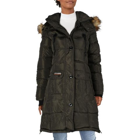 Steve Madden Womens Puffer Coat Faux Fur Heavyweight