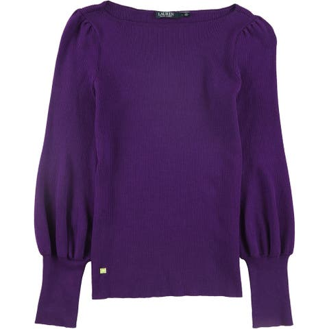 Ralph Lauren Womens Long Sleeve Pullover Sweater, Purple, Large