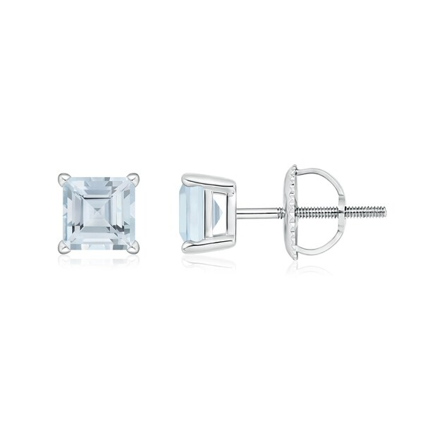 Angara Aquamarine Studs Yellow Gold 12wBgq