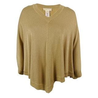 Michael Kors Women's Metallic V-Neck Poncho Sweater - l