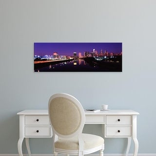 Easy Art Prints Panoramic Image 'Buildings lit up, Philadelphia, Schuylkill River, Pennsylvania' Canvas Art
