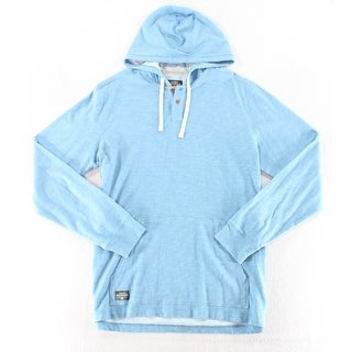 Quiksilver Heather Sky Blue Mens Size XL Hooded Henley Sweater