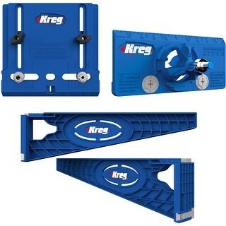 Kreg Drawer Slide Jig with Cabinet Hardware Jig and Concealed Hinge Jig - Blue