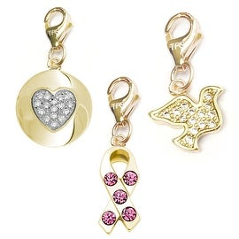 Julieta Jewelry Pink CZ Ribbon, Heart CZ Heart Disc, Dove 14k Gold Over Sterling Silver Clip-On Charm Set