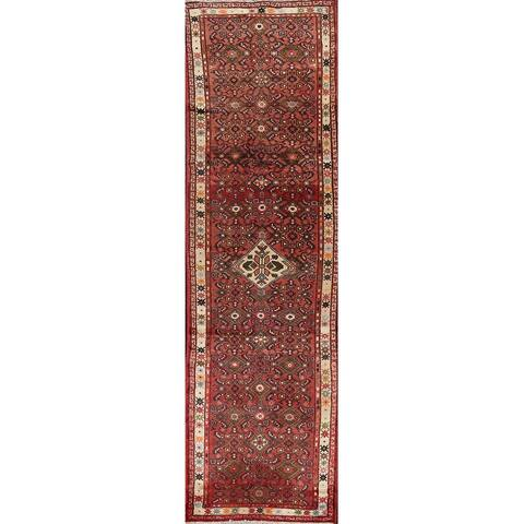 "Clearance Geometric Hamedan Persian Wool Runner Rug Handmade Carpet - 2'7"" x 9'10"""