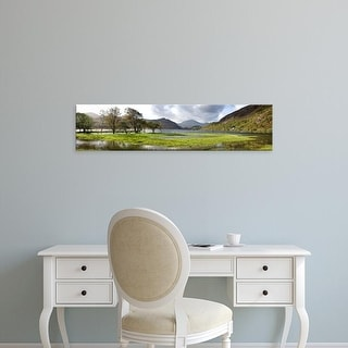 Easy Art Prints Panoramic Images's 'Lake with mountains, Llyn Dinas, Snowdonia National Park, Wales' Canvas Art