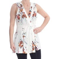 Free People White Ivory Womens Size Medium M Floral Print Blouse